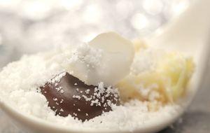 Ganache de chocolate, pralinê de castanhas e sorbet de cupuaçu