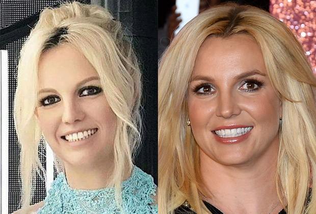 Estátua de cera de Britney Spears (esq) e foto da Britney real (Foto: Reprodução e Getty Images)