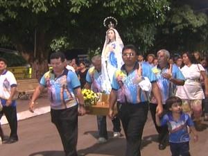 Imagem peregrina de Nossa Senhora da Conceição, Santarém (Foto: Reprodução/TV Tapajós)