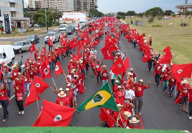 MST protesta em Brasília (Foto: Reprodução Facebook)