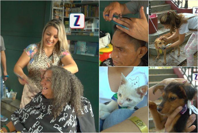 Ações de corte de cabelo e vacinação de animais também foram realizadas (Foto: Zappeando)