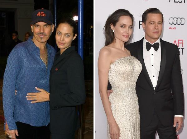Angelina Jolie com Billy Bob Thorton e Brad Pitt (Foto: Getty Images)
