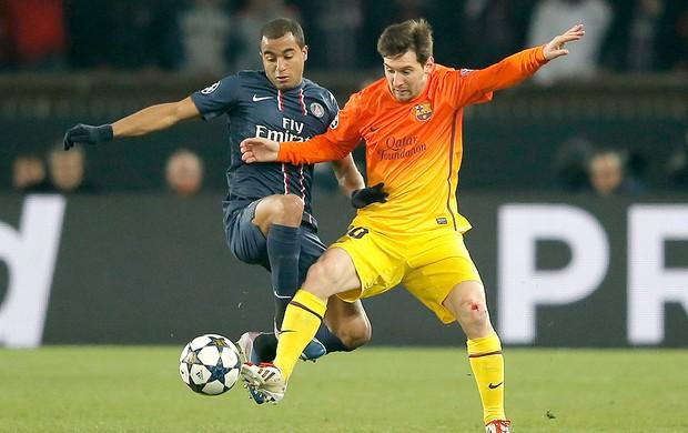 Lucas Messi jogo PSG Barcelona (Foto: AP)