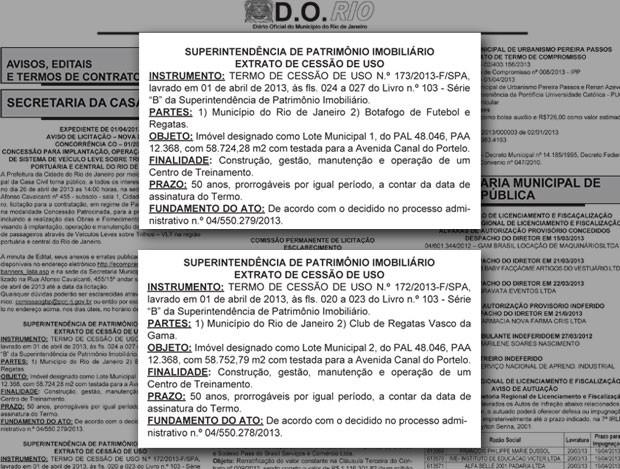 Diario Oficial Cessão terreno Vasco e botafogo (Foto: Reprodução )