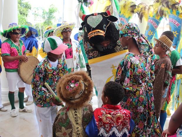 Boi Imperador da Ilha tem 70 participantes e destes, 24 são crianças. (Foto: Gilcilene Araújo/G1)