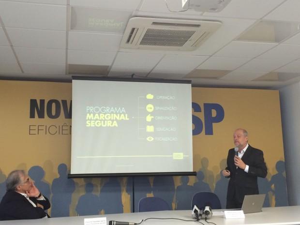 Futuro secretário da gestão Doria anuncia novos limites de velocidade nas marginais (Foto: Tahiane Stochero/G1)