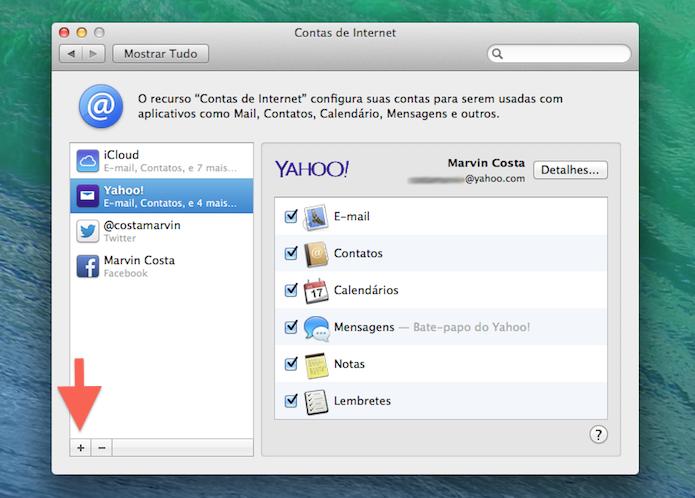 Adicionando um novo serviço de internet ao Mac OS X (Foto: Reprodução/Marvin Costa)