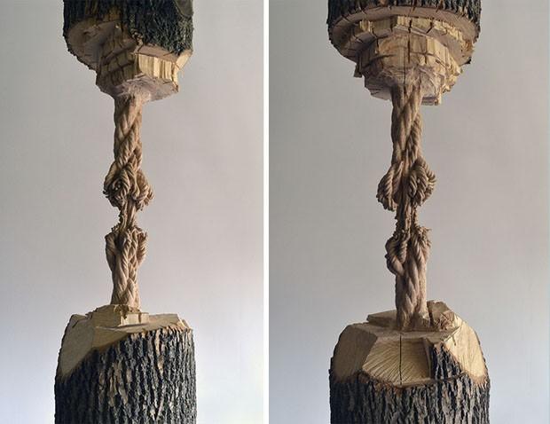 Artista canadense transforma troncos de árvore em cordas impressionantes (Foto: Divulgação)
