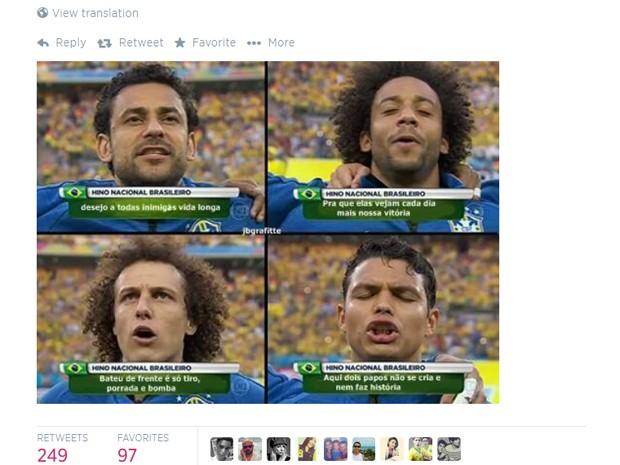 Imagem reproduzida por Valesca Popozuda no Twitter mostra jogadores cantando 'Beijinho no ombro' (Foto: Reprodução / Twitter)