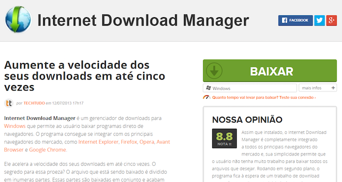 Baixando o Internet Download Manager (Foto: Reprodução/Helito Bijora)