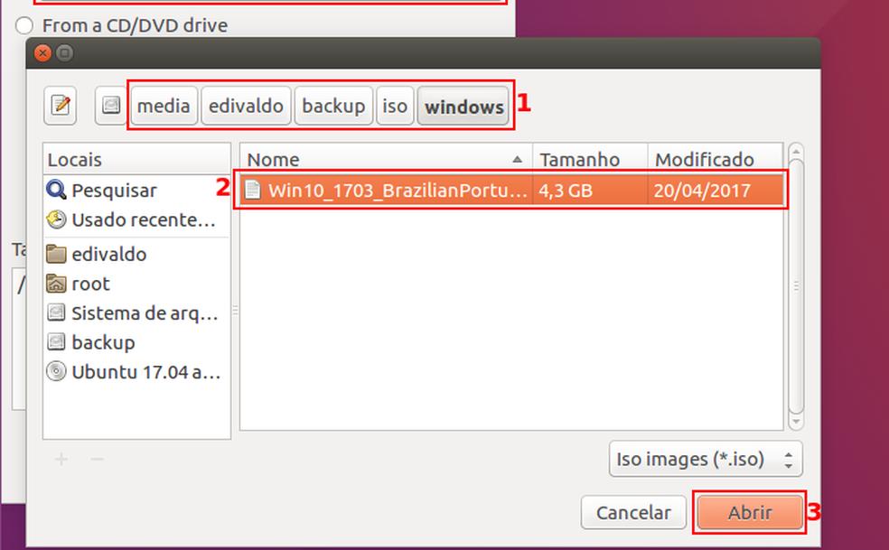 Localizando, selecionando e abrindo a imagem ISO do Windows (Foto: Edivaldo Brito/TechTudo)