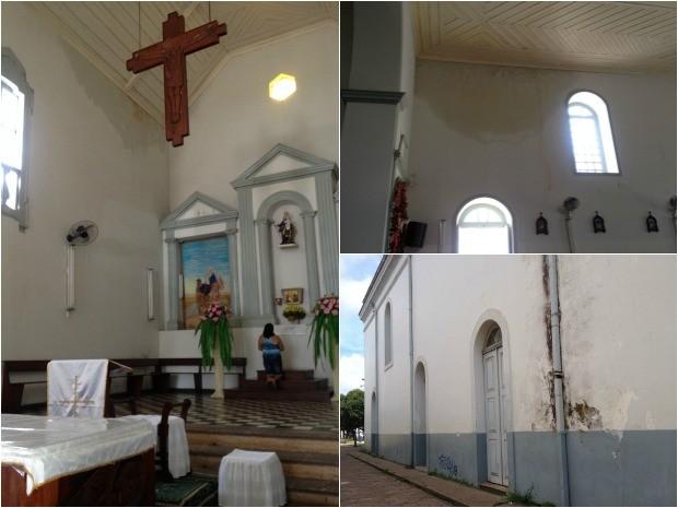 Fotos mostram infiltrações na estrutura da Igreja São José, em Macapá (Foto: Fabiana Figueiredo/G1)