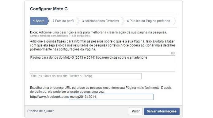 Preenchimento do campo Sobre da página do Facebook (Foto: Reprodução/ Raquel Freire)
