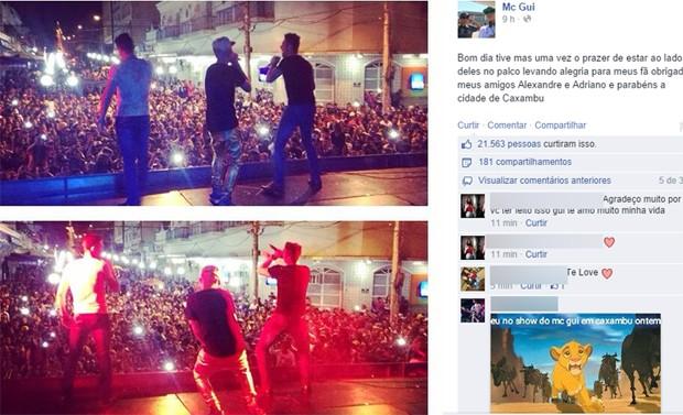 MC Gui postou foto de show que terminou em confusão em Caxambu (Foto: Reprodução Facebook)