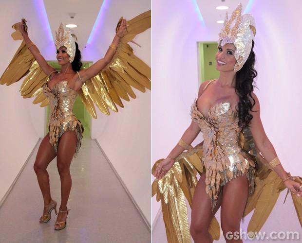 Fernanda D'avila faz até perfomance no clima do Carnaval (Foto: Domingão do Faustão / TV Globo)