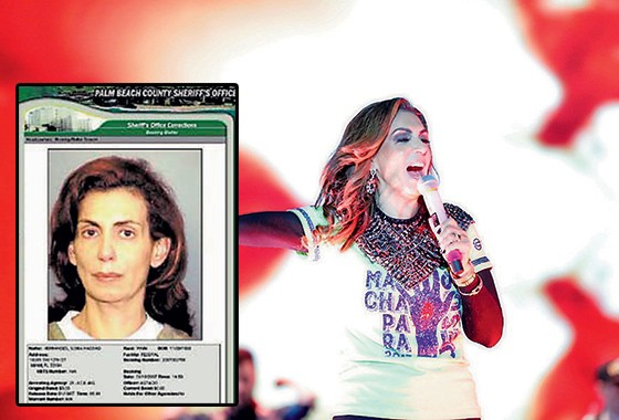 A bispa Sonia por ocasião da prisão nos Estados Unidos (no detalhe) e num culto recente no Brasil (Foto: reprodução)