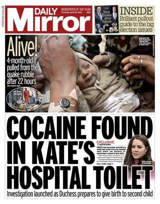 Capa do tablóide britânico Mirror (Foto: Reprodução)