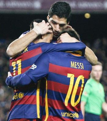 Messi; Suárez; Neymar; Barcelona x Celta (Foto: EFE)