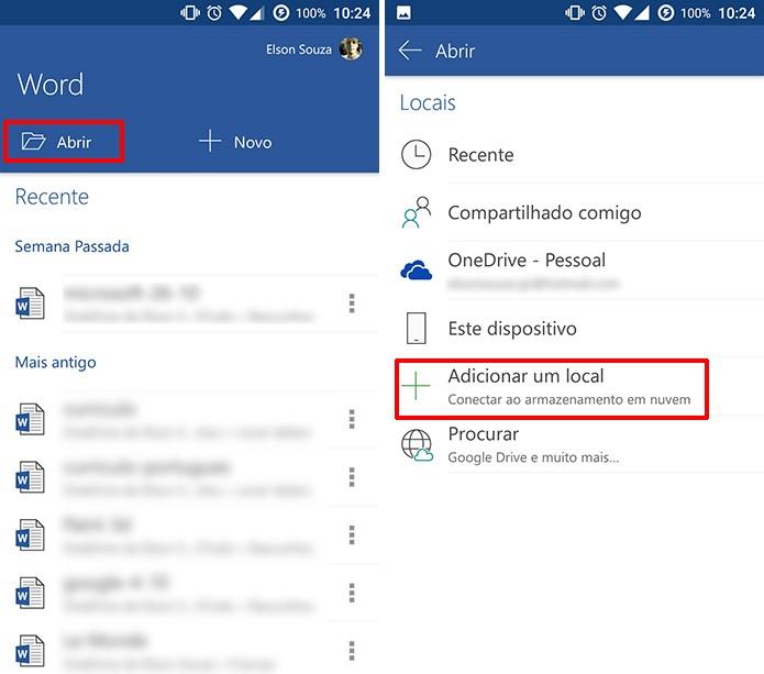 Office para Android pode se conectar a diferentes serviços de nuvem para abrir documentos (Foto: Reprodução/Elson de Souza)