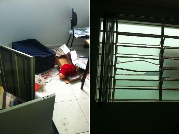 Vândalos arrombaram janela e reviraram objetos da Unidade de Saúde Sillas Salles, em Ponta Grossa (Foto: Vanessa Rumor/RPC TV)