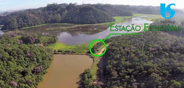 Imagem da Sabesp que aponta o posicionamento de uma futura estação elevatória da interligação. (Foto: Reprodução/Sabesp)