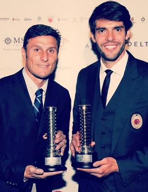 Kaká e Javier Zanetti (Foto: Reprodução/Twitter)