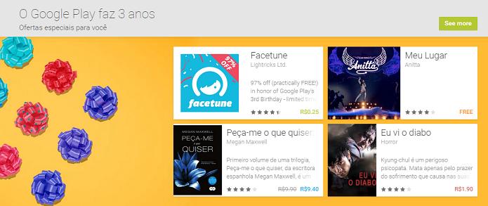 Google Play tem conteúdo com desconto e de graça (Foto: Reprodução/Aline Jesus)
