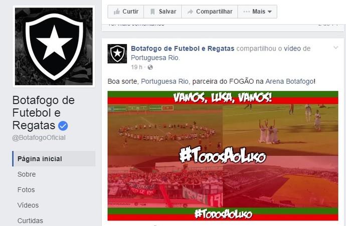 Botafogo mostra apoio à Portuguesa-RJ (Foto: Reprodução Facebook)