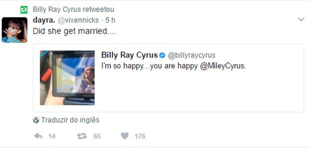 Pai de Miley Cyrus deixa fãs eufóricos com suposto casamento da cantora (Foto: Reprodução/Twitter)