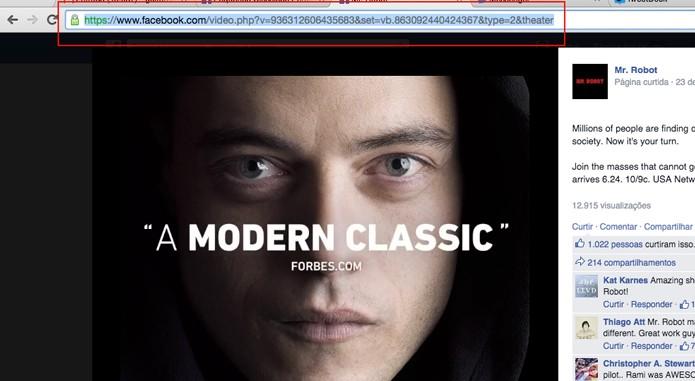 Copie a url do vídeo (Foto: Reprodução/André Sugai)
