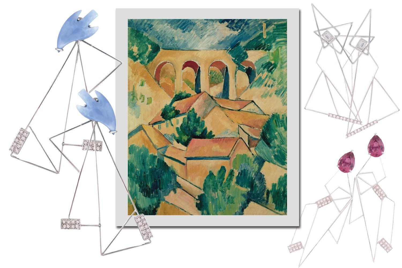 Obra Viaduct L'Estaque (1908), de Georges Braque, e os brincos da coleção (Foto: Reprodução/Vogue Brasil)