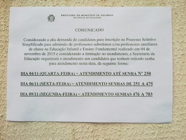Comunicado Secretaria da Educação em Valinhos 562c861a34833