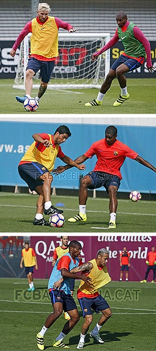 MONTAGEM - Marlon barcelona marca Messi Suarez neymar (Foto: Editoria de Arte)