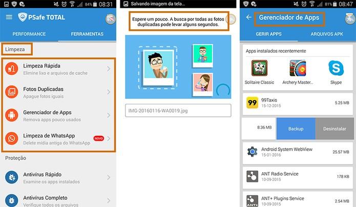 Funções para otimização do celular com app PSafe Total (Foto: Reprodução/Barbara Mannara)