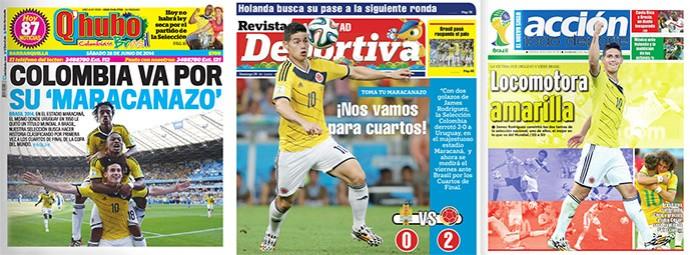 montagem - capas de jornais Colômbia (Foto: Editoria de Arte)