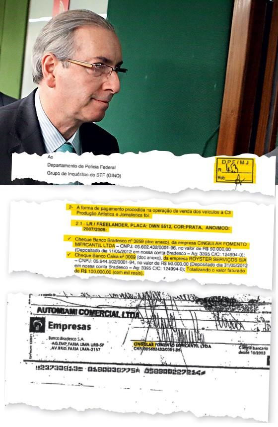 ACASO Documento da compra dos carros e o presidente da Câmara, Eduardo Cunha (no alto). Investigação sobre o petrolão descobriu a gentileza de Funaro (Foto: André Dusek/Estadão Conteúdo)