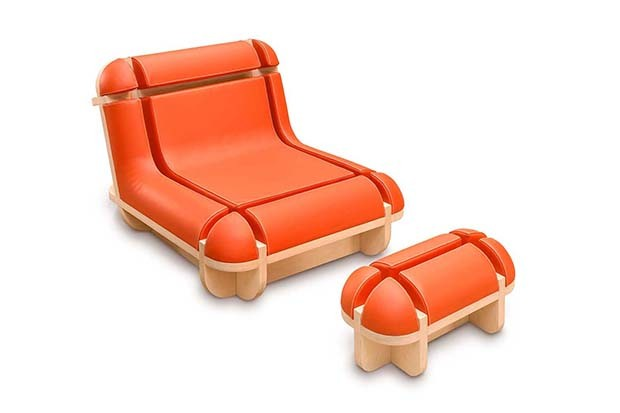 "Matali Crasset: ""When Jim Relaxes"" armchair in multifold birch, foam and leather, 2009 (Foto:  PHOTO COURTESY OF DOMEAU & PÉRÈS)"