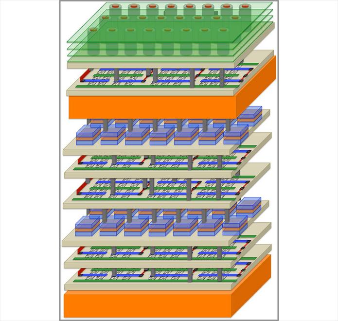 Ao criar chips com várias camadas, pesquisadores reduzem consumo de energia e aumentam a performance (Foto: Divulgação/Stanford)
