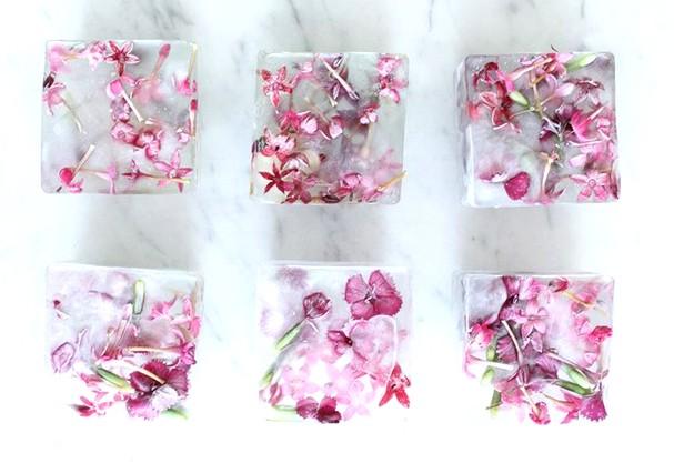 Gelo decorado com flores (Foto: Reprodução)