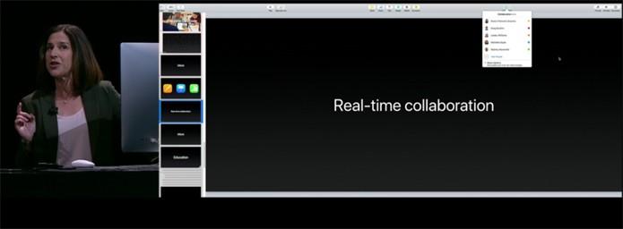 O iWork colaborativo sendo apresentado pela Apple (Foto: Reprodução/Live do lançamento do iPhone 7)