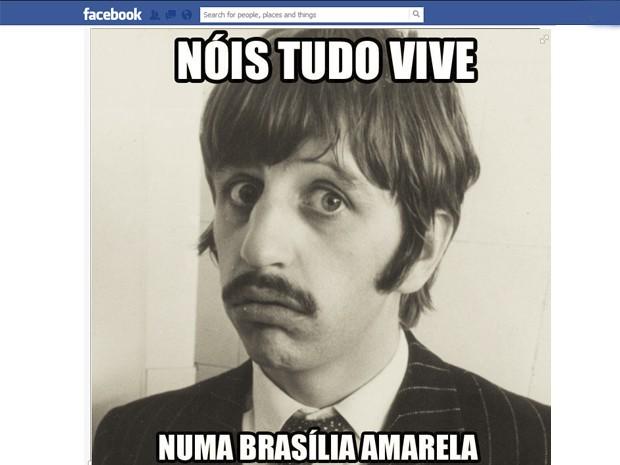 Imagem da página 'João Lennon' no Facebook, que faz referência à música 'Yellow submarine', dos Beatles (Foto: Reprodução/Facebook)