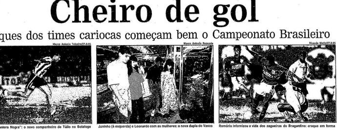 Acompanhadas das esposas, Juninho e Leonardo dividiram as manchetes com Donizete e Romário (Foto: Reprodução / Jornal O Globo)