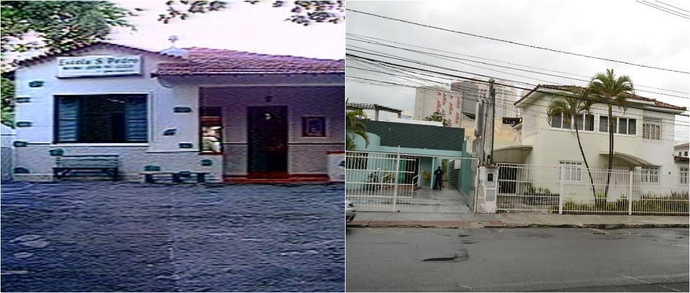 Colégio São Pedro em 1977 e local em 2015 (Foto: Montagem/ G1)