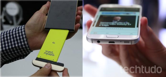 À esquerda, LG G5 com bateria removível solta; à direita, Galaxy S7 com bateria fixa não removível (Foto: Montagem/TechTudo)