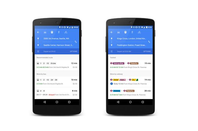 Interface do Google Transit no celular Android (Foto: Reprodução/Google)