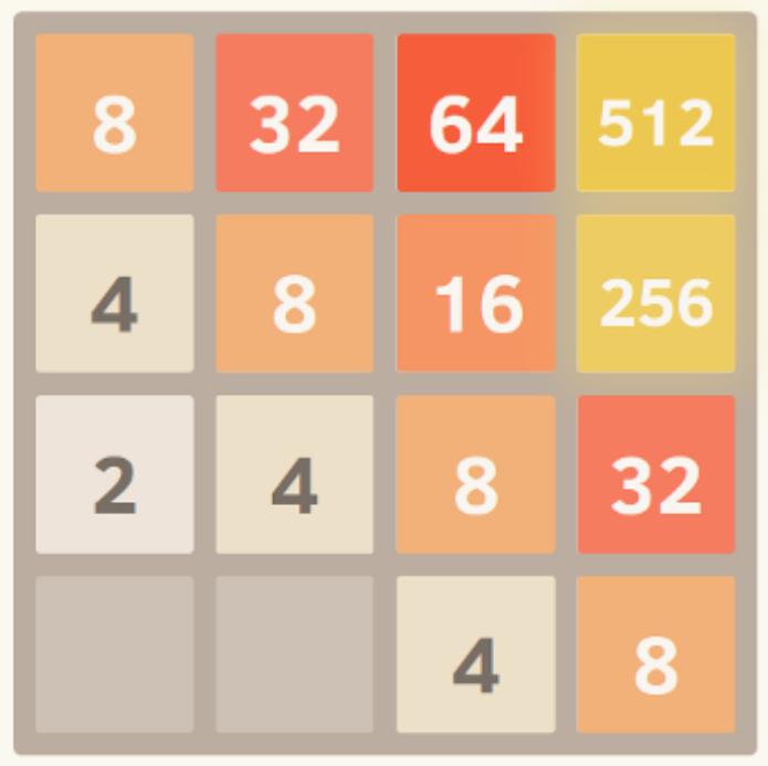 2048: Encurralar números maiores no canto (Foto: Reprodução)