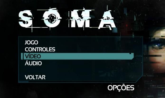 SOMA: menu Opções permite ao jogador alterar as configurações do jogo (Foto: Reprodução/Paulo Vasconcellos)