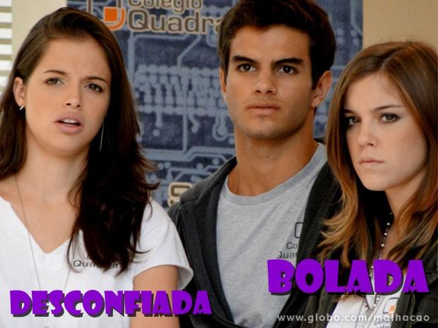 O trio observa de longe de Lia fica boladona com Vitor (Foto: Malhação / TV Globo)