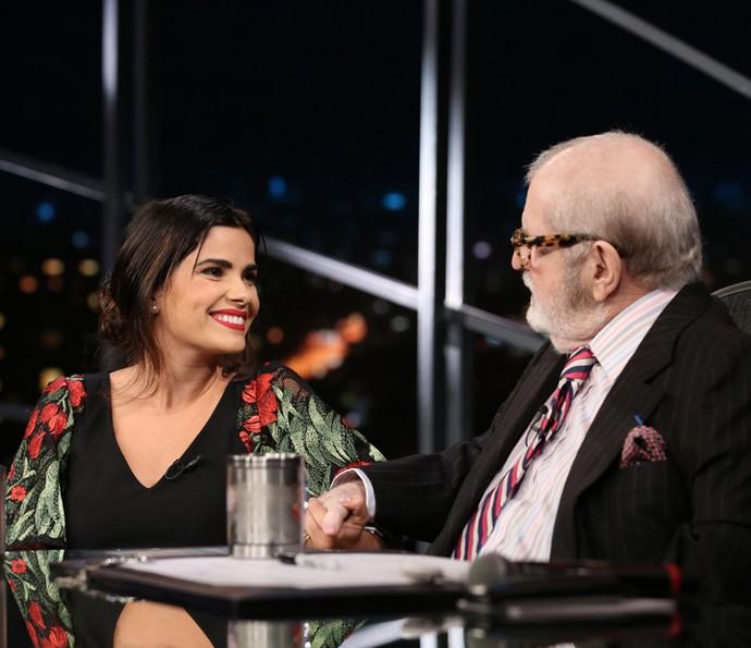 Jô Soares entrevista Vanessa Giácomo no 'Programa do Jô' (Foto: Carol Caminha/Gshow)