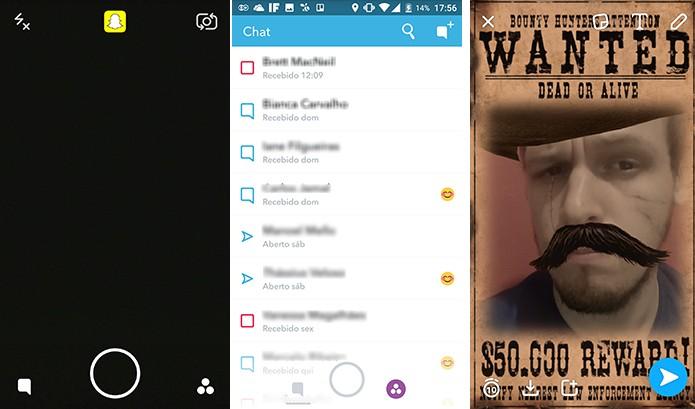 Snapchat para Android e iPhone novos botões que ficam acima de qualquer tela (Foto: Reprodução/Elson de Souza)